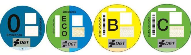 Las pegatinas de la DGT premian a los vehículos menos contaminantes